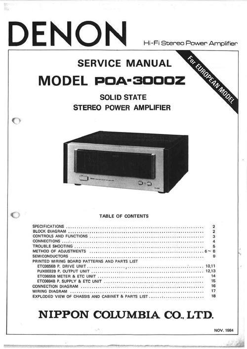 denon poa 3000z power amplifier original service manual denon service manual poa 3000z. Black Bedroom Furniture Sets. Home Design Ideas