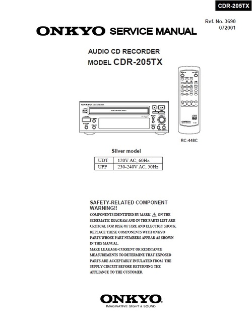 onkyo cdr 205tx cd recorder service manual service cdr 205tx integra onkyo