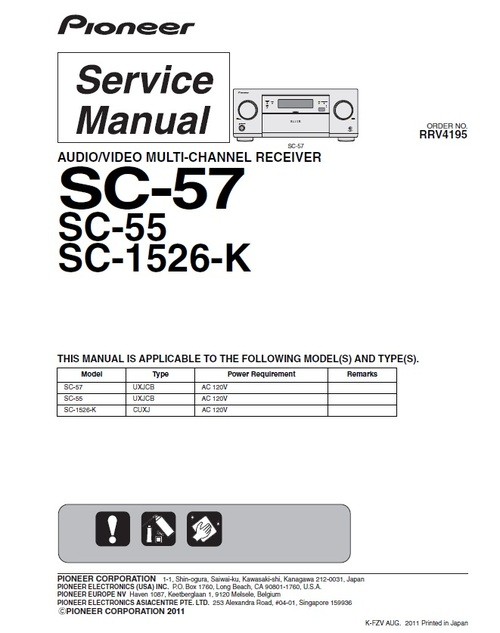 Product picture Pioneer SC-55 Home Cinema Receiver Service Manual