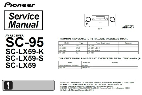 Product picture Pioneer SC-95 Home Cinema Receiver Service Manual