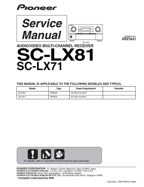 Product picture Pioneer SC-LX-81 Home Cinema Receiver Service Manual