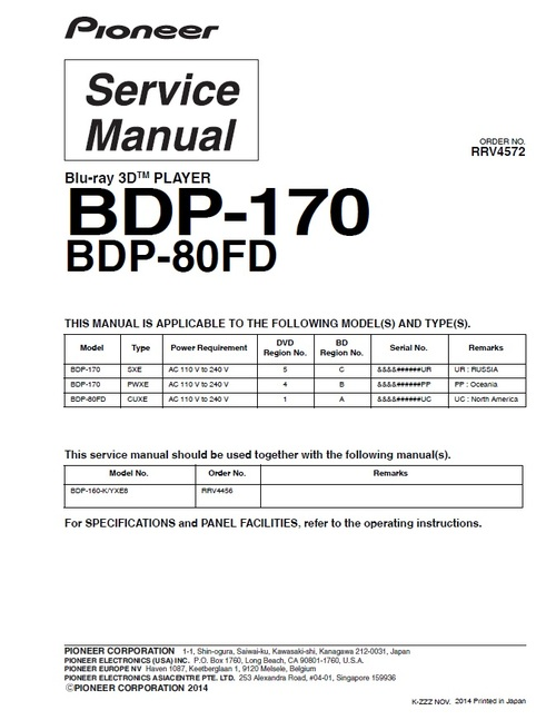 Product picture Pioneer BDP-80FD (region1,4,5) Blu Ray player Service Manual