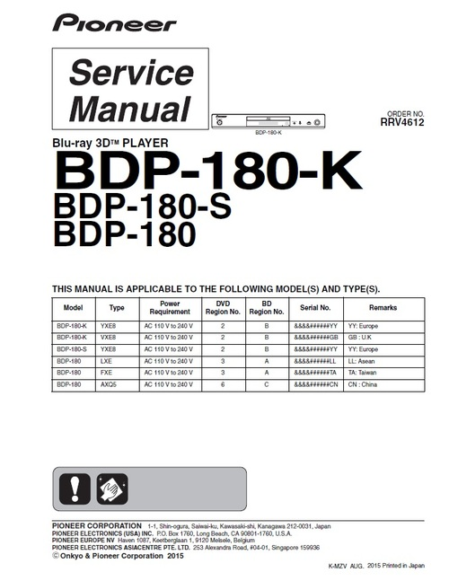 Product picture Pioneer BDP-180 Blu Ray player Service Manual