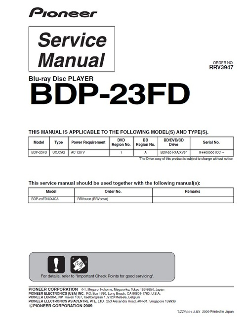Product picture Pioneer BDP-23FD Blu Ray player FULL Service Manual